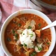 easy lasagna soup recipe in a bowl