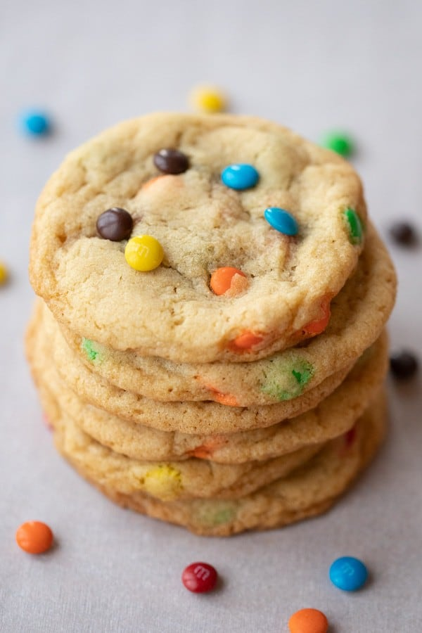 homemade m&m cookies stacked