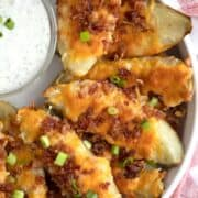 loaded baked potato skins reicipe with cheese and bacon