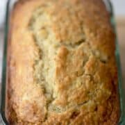 banana bread recipe in a glass pan