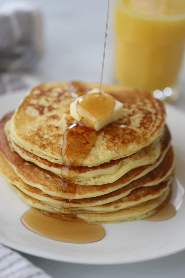 einkorn buttermilk pancakes with butter and syrup