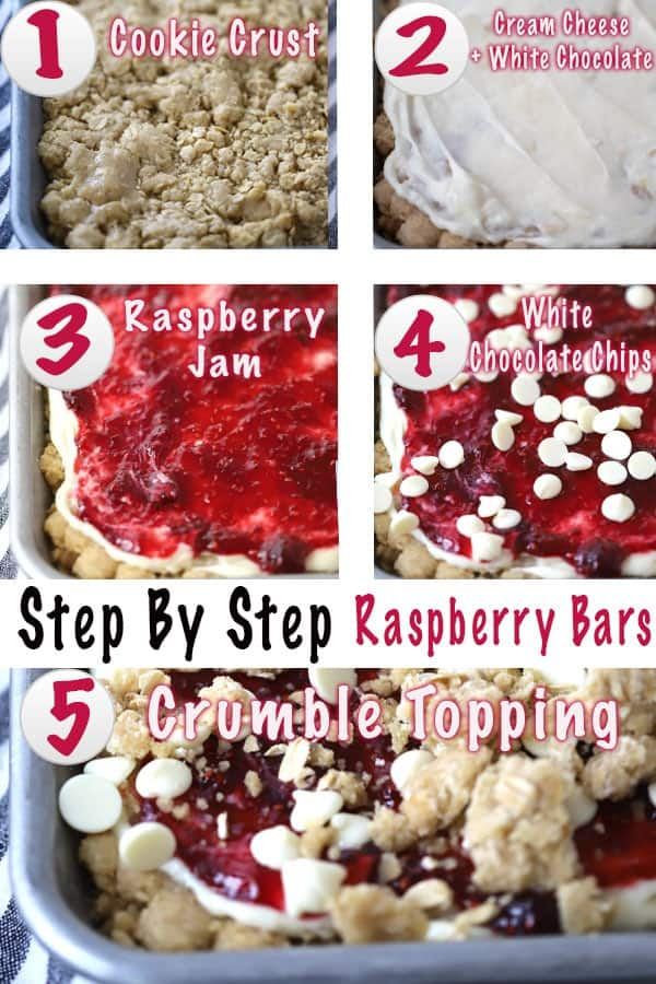 step by step raspberry cookie bars