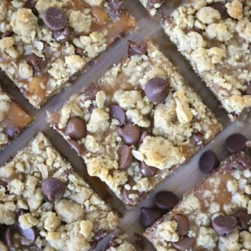 Caramel Peanut Butter Cookie Bars with oatmeal cookie bars