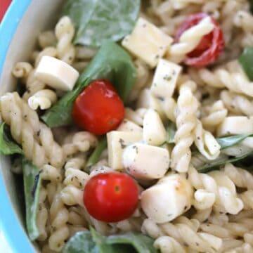 Pesto Pasta Salad in a large bowl