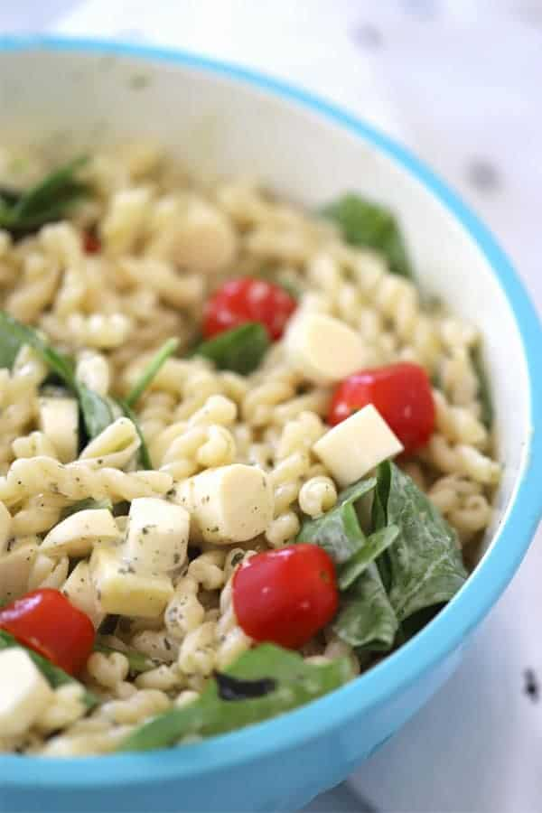 Pesto Pasta Salad with creamy ranch dressing
