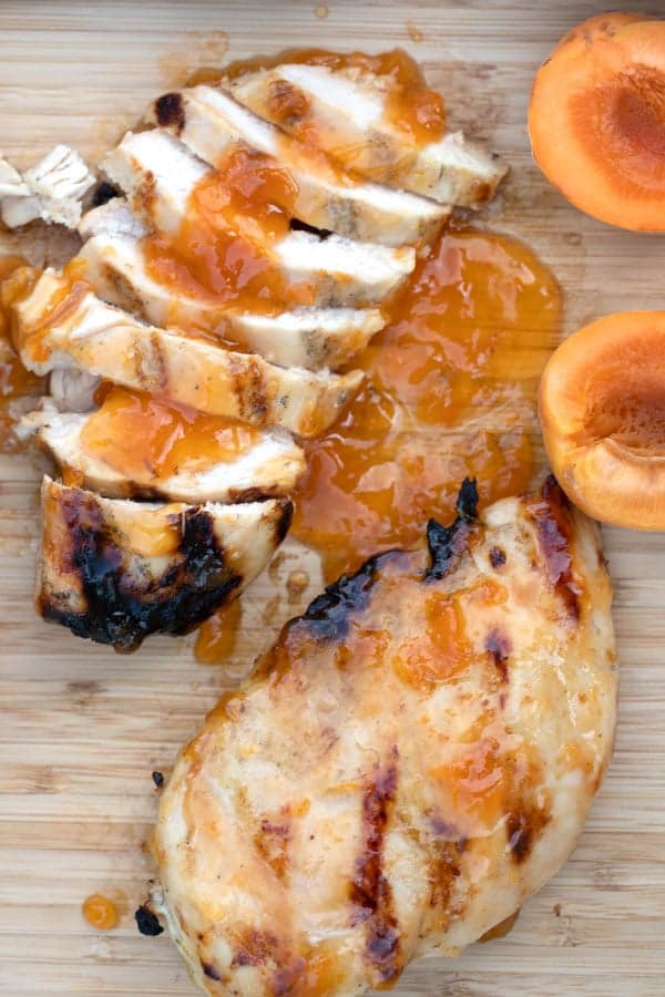 Grilled Apricot Chicken cut up