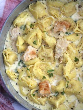 Creamy Garlic Chicken Alfredo Tortellini, a one pot meal
