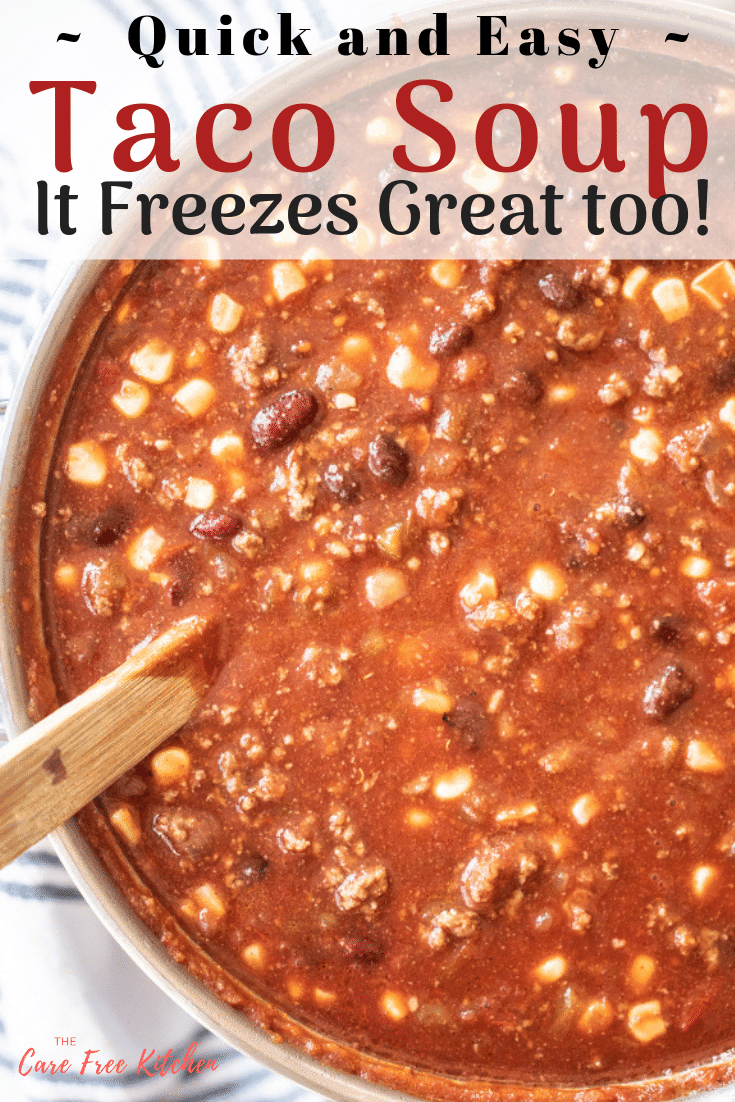 This Easy Taco Soup Recipe is a healthy taco soup recipe, and bonus, it freezes great. It can be made in just a few minutes, with simple ingredients, and is a dinner recipe the entire family will love.