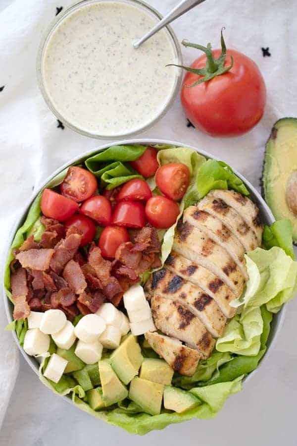 healthy grilled chicken BLT salad recipe with pesto ranch dressing