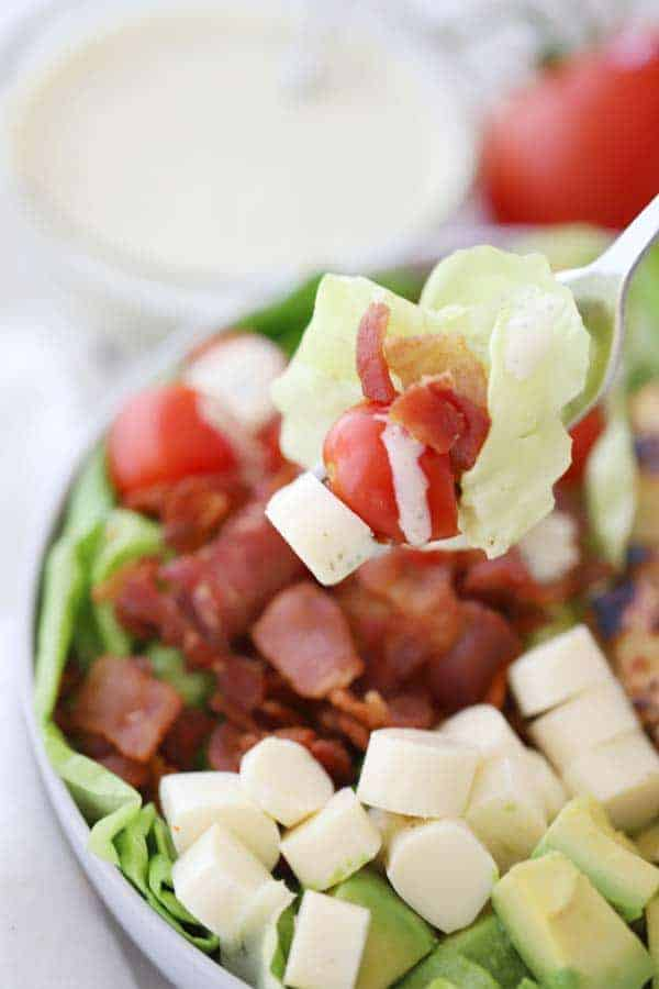 blt chicken salad with pesto ranch dressing