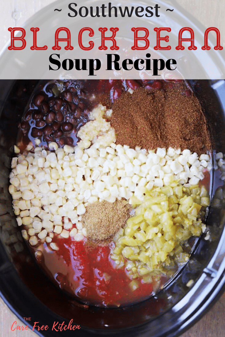 Pinterest pin for southwest black bean soup