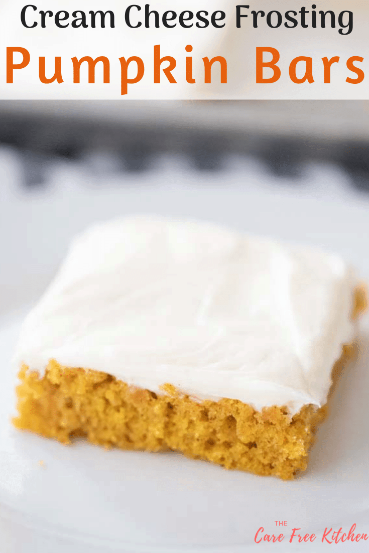pinterest pin for punpkin bar with cream cheese frosting