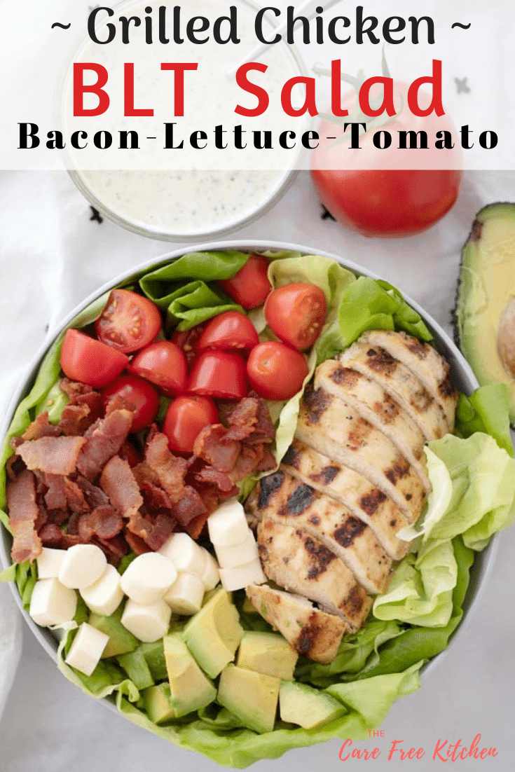 pinterest pin for blt grilled chicken salad