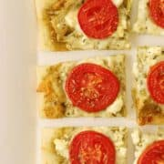 3 cheese pesto tomato flatbread recipe