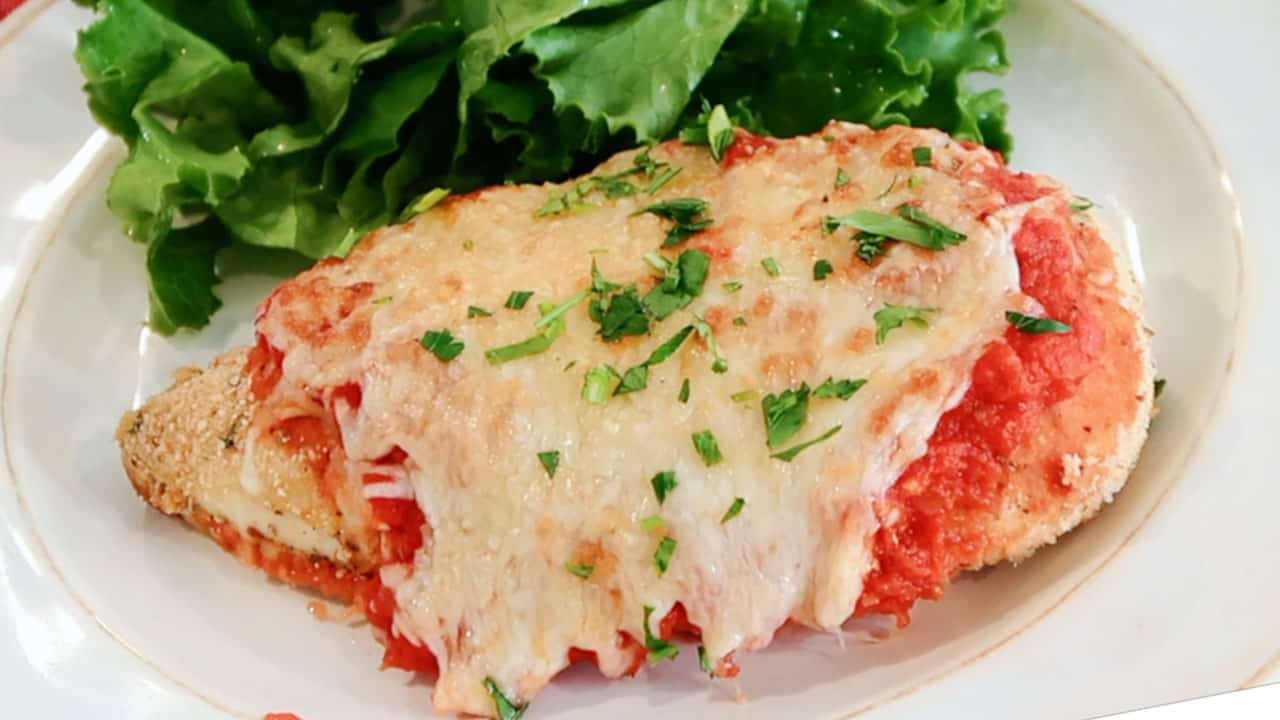 easy baked chicken parmesan on a plate