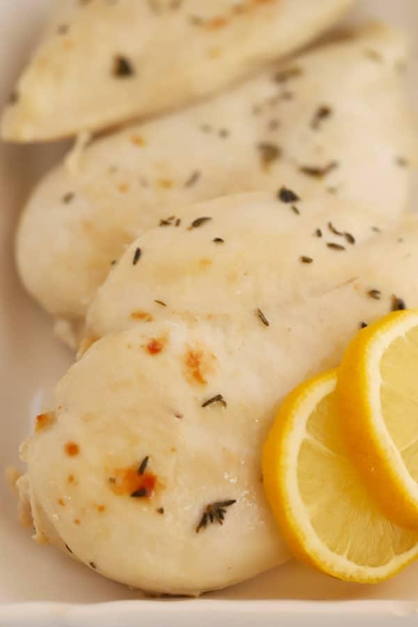 Baked Lemon Chicken on a white platter