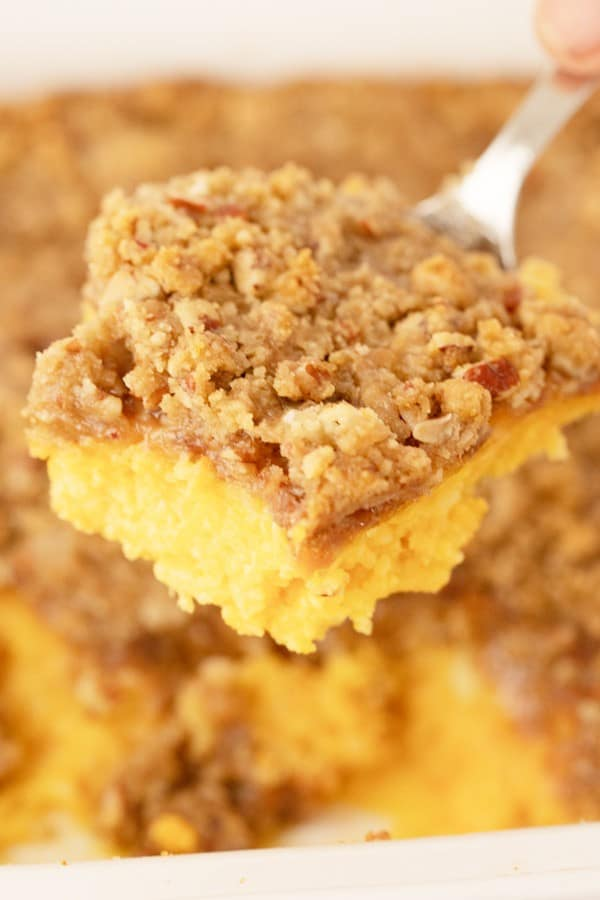 Sweet potato casserole with pecan streusel topping