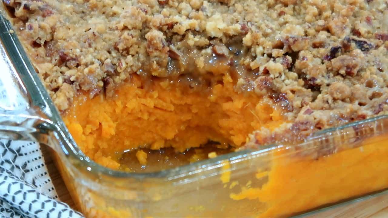 sweet potato casserole in a baking dish