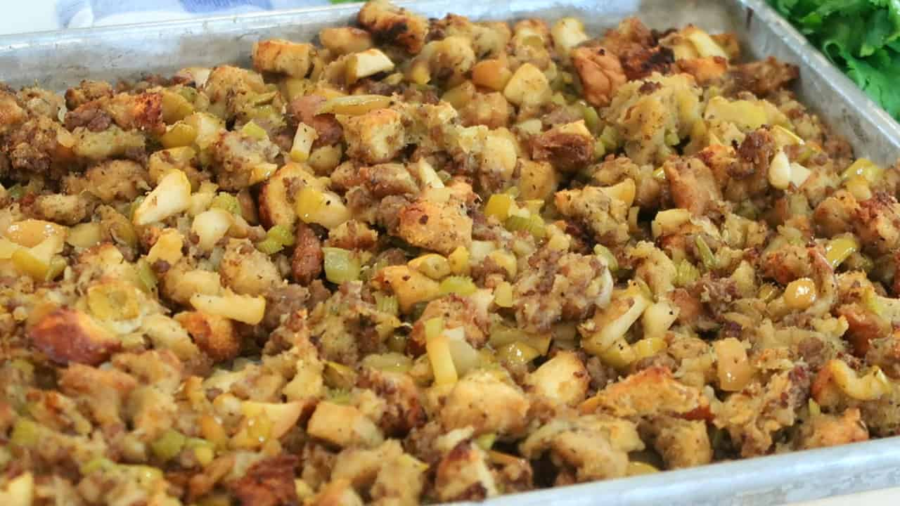 sausage and apple stuffing in a sheet pan