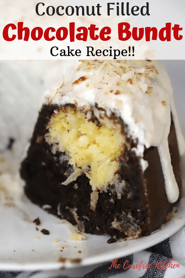 pinterest pin for coconut filled chocolate bundt cake recipe