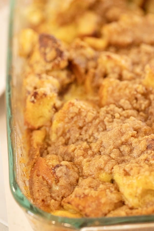 Apple Cinnamon French Toast Bake with strudel Topping