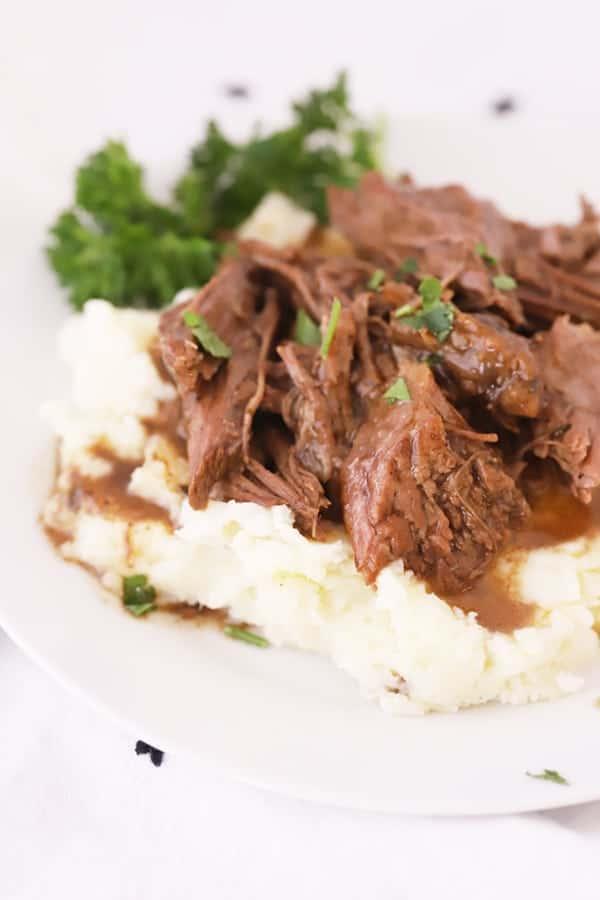 Mississippi pork Roast on mashed potatoes