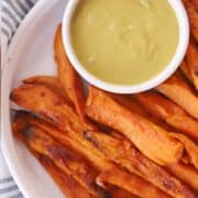 Homemade sweet potato fries with dipping saucew