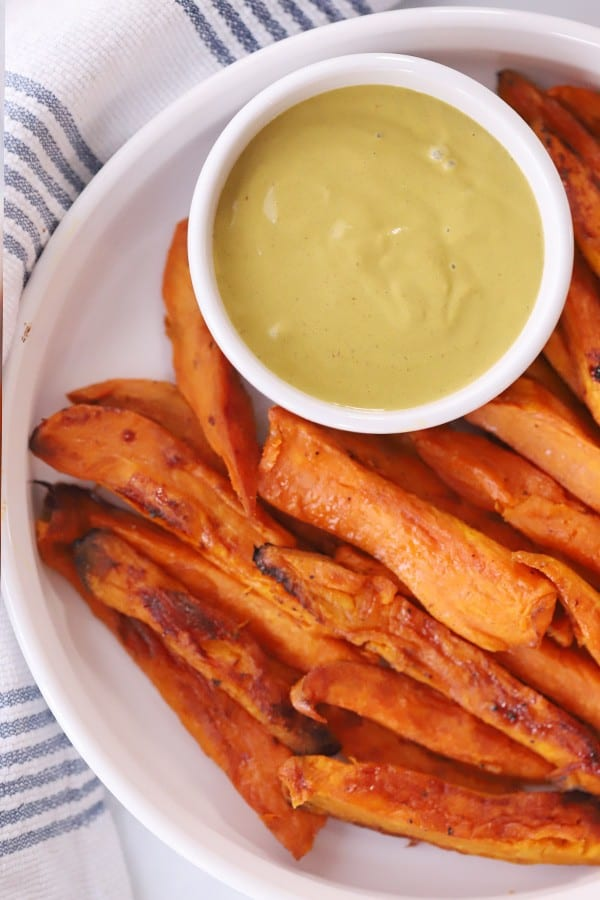 Homemade sweet potato fries with dipping sauce.