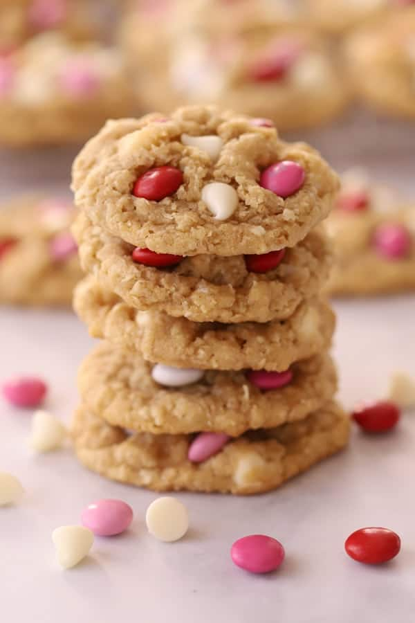 White chocolate chips coconut cookies stacked