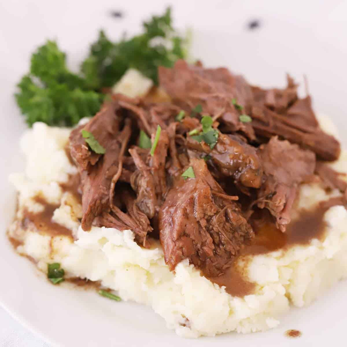 mississippi Pot Roast on mashed potatoes