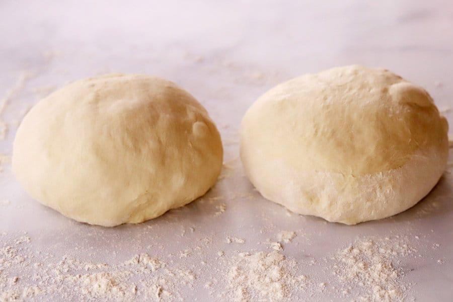 Bread dough on a light countertop