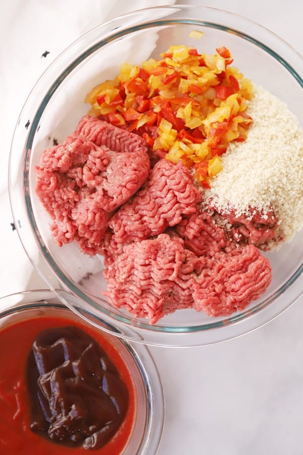 meatloaf ingredients in a glass bowl
