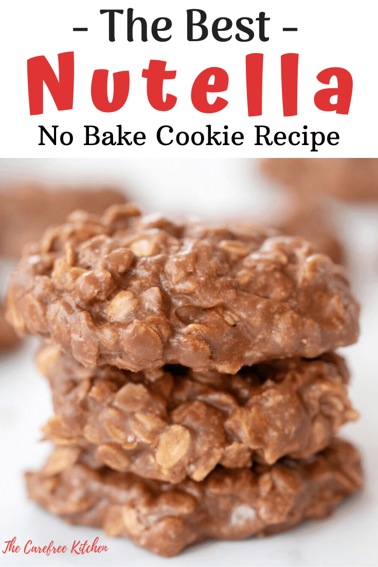 pinterest pin for nutella no-bake cookie recipe