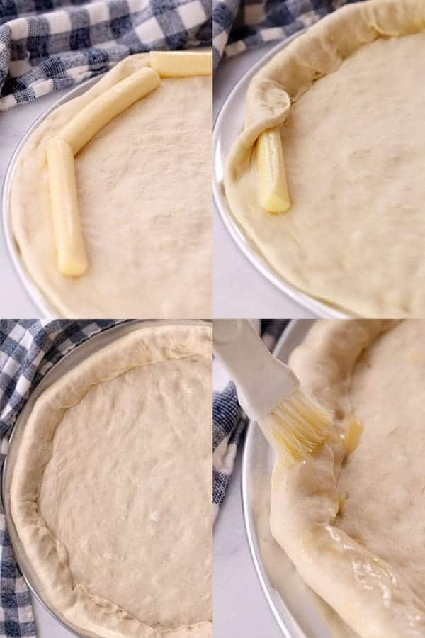 4 photos showing the process of stuffing pizza crust using string cheese sticks
