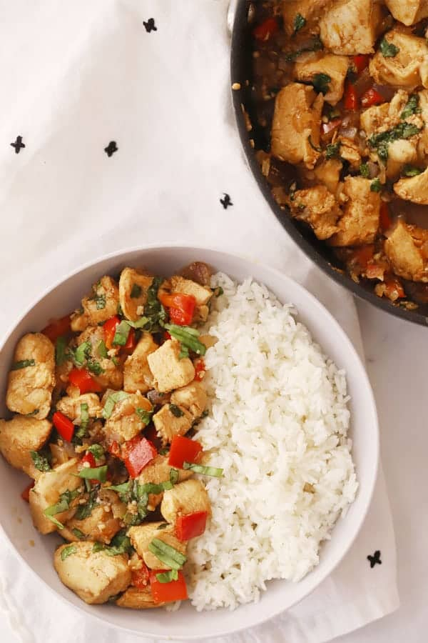 thai chicken stir fry on rice