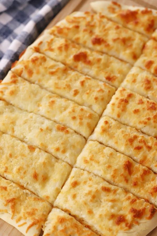 cheesy breadsticks cut into slices