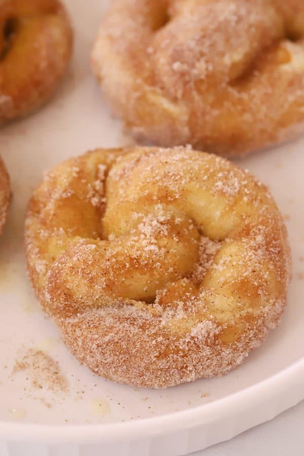 cinnamon sugar soft pretzels on a plate