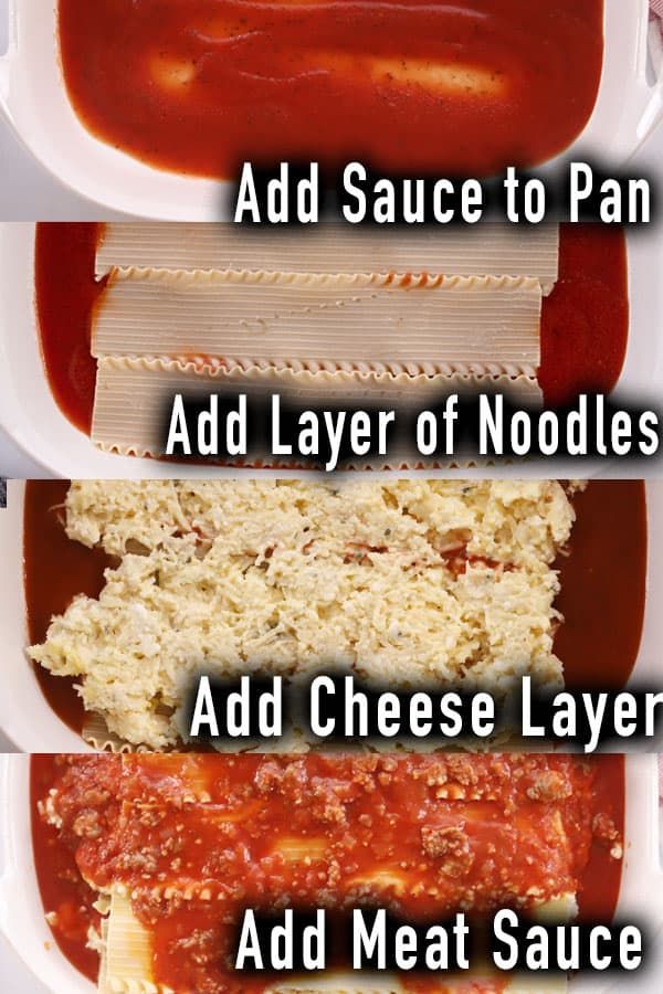 four separate photos showing the process of building the layers of lasagna