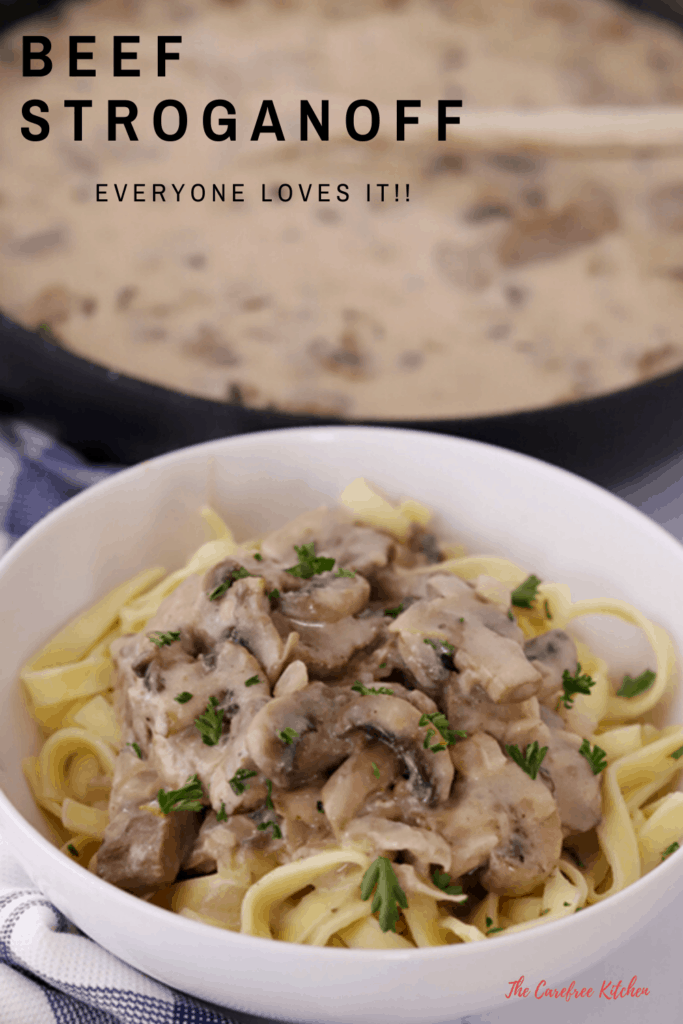 pinterest pin for beef stroganoff