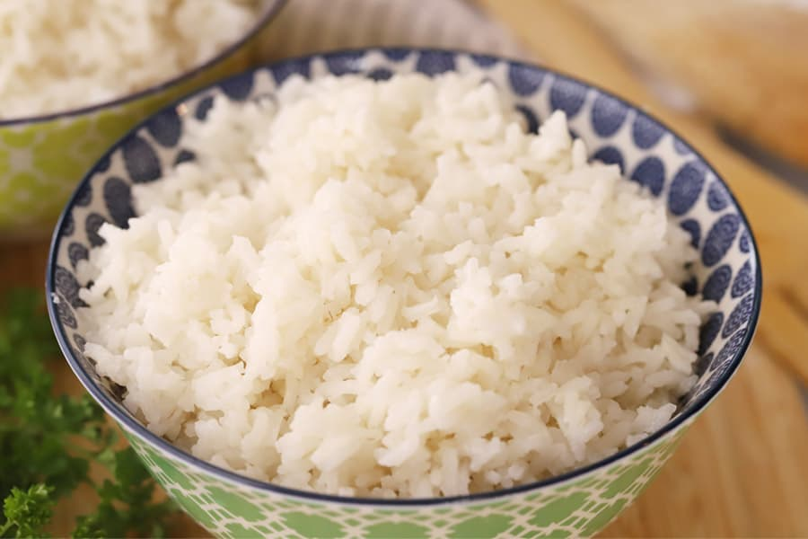 Coconut rice in a decorative bowl.