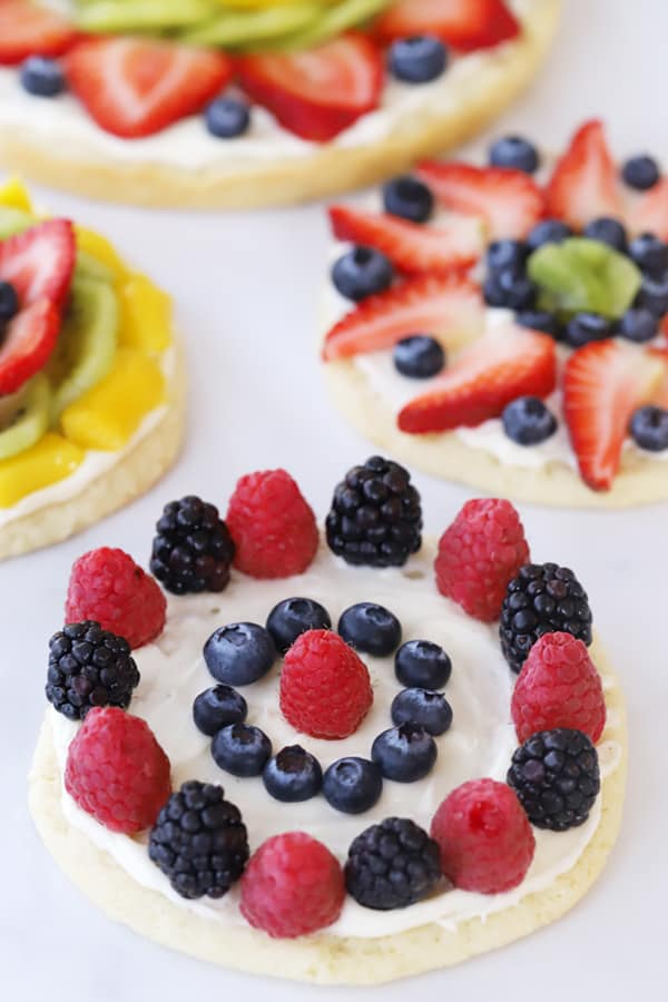 fruit pizza cookies decorated with berries