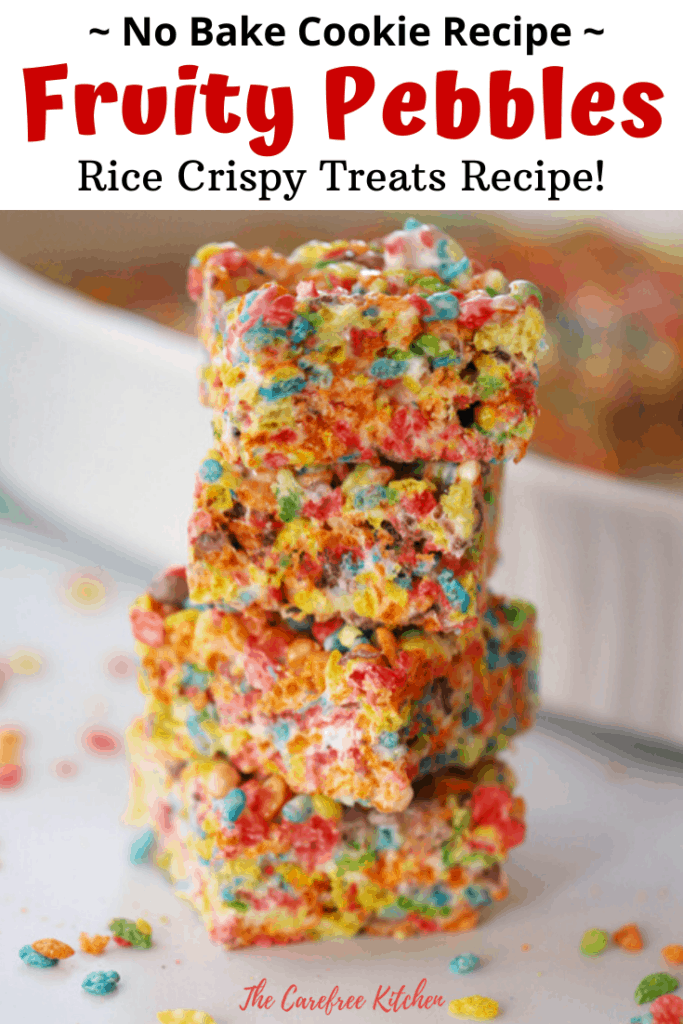Pinterest pin for fruity pebbles rice crispy treats