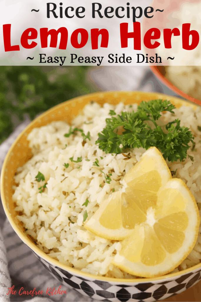 pinterest pin for Lemon Herb Rice