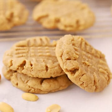 Peanut Butter Cookies with criss cross marksstacked