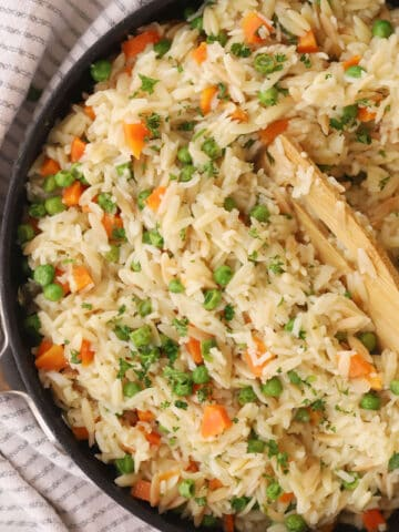 Rice pilaf in a pot.