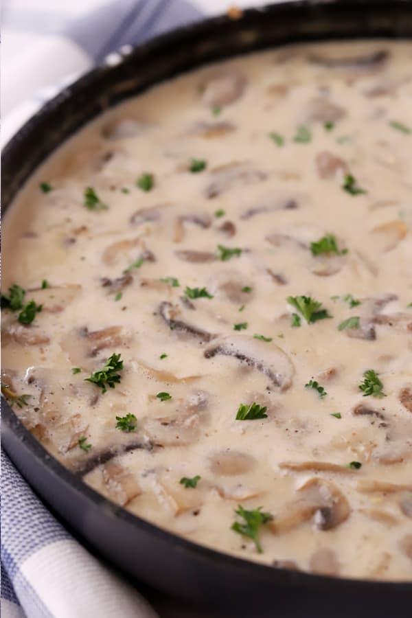 stroganoff sauce in a saute pan