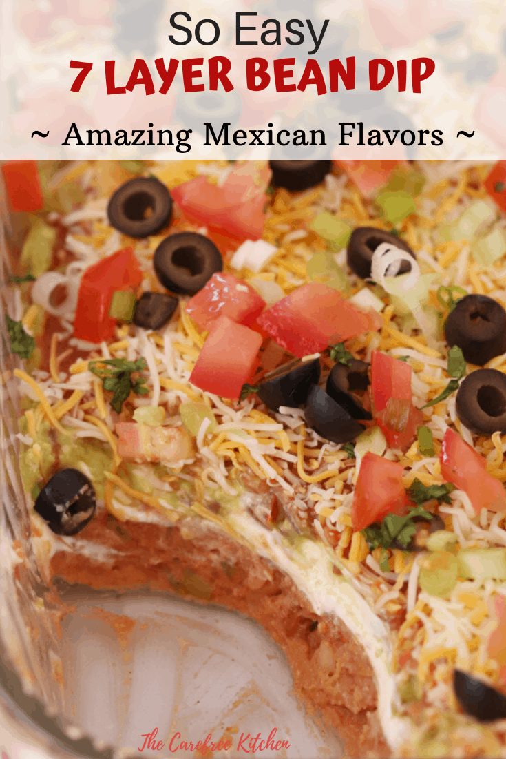 pinterest pin for 7 layer bean dip