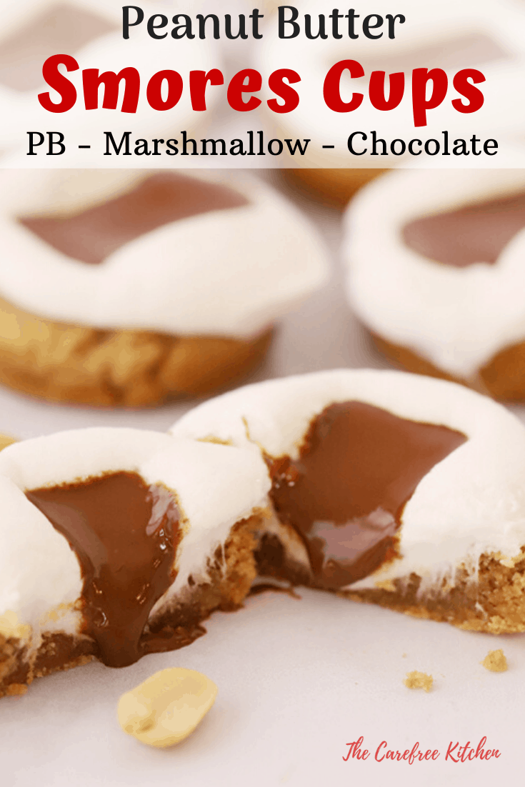 pinterest pin for peanut butter s'mores cups