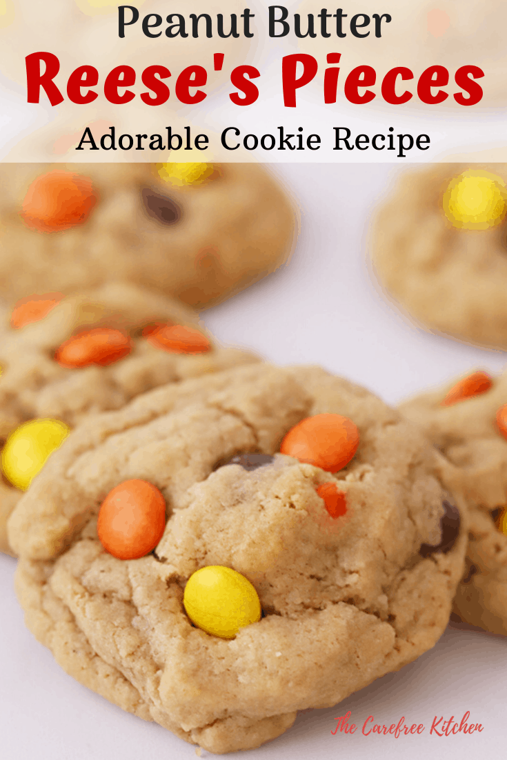 pinterest pin for reeses Pieces Cookies