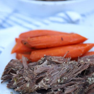 venison roast with cooked carrots on a plate